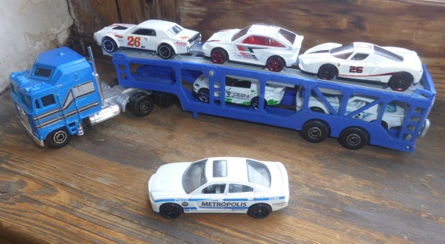 Transporter with white cars